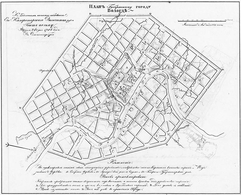 Екатерининский план застройки города Вологды 1784 года