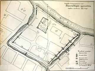 Схематический ситуационный план Вологодской крепости первой половины XVII века