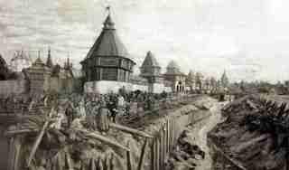 Вологодская крепость в начале XVII века (с картины А.И. Брягина)